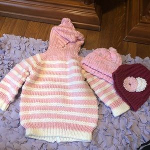Baby sweater and hats